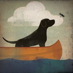 Black Dog Labrador Retriever Canoe Ride original Graphic Art Giclee Print 12x12 Signed $39