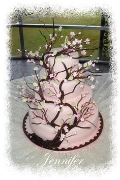 beauti food, pink cakes, cherri blossom, blossom cake, blossom trees, wedding cakes, cherries, cake art, cherry blossoms