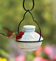Milk Glass hummingbird feeder