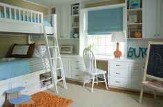 This big boy rooms consists of bunk beds, built-ins and play space (oh my!) #bigboyroom #twins