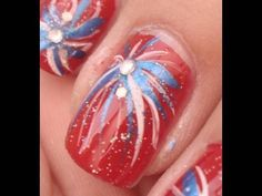 Fireworks Nail Art! (4th of July) - YouTube