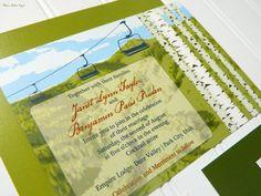 Summer Ski Mountain Wedding Invitations by WhoaNelliePress on Etsy, $100.00