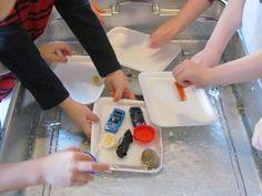 Exploring what will float or sink in preschool
