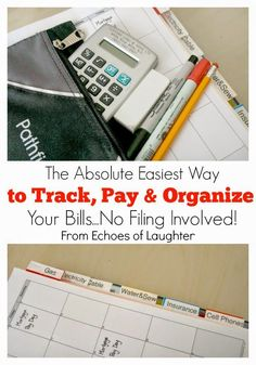 The Absolute Easiest Way To Track, Pay and Organize Your Household Bills! No Filing Involved! Come see a great system that works!