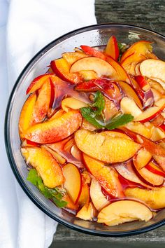 Nectarine preserves with watermelon and mint