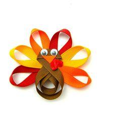 Turkey Hair Clip, Turkey Clip, Turkey Hair Bow, Turkey Ribbon Sculpture, Clippie, Autumn Colors Baby Toddler Girl. $4.50, via Etsy.