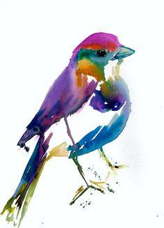 "Print of Watercolor Painting ""Quirky Bird"" 9 x 12 Original Watercolor Painting Pink Fuschia Orange Yellow Tan Brown"