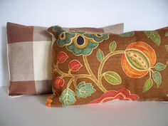 Brown Leaves Orange Fall Pillow Cover 10x16 by linenandoak on Etsy, $20.00
