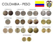 Algunas monedas de Colombia - denominaciones de 1, 2, 5,10, y 20 pesos.
