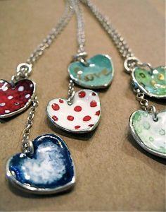 Silver and Enamel heart jewellery <3