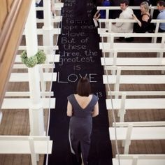 An elegant farm wedding with lovely handwritten details, including this chalkboard scripture aisle runner. (Pics by Cari Photography)