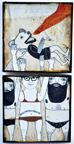 Stage Dive-mixed media prints on wood panels