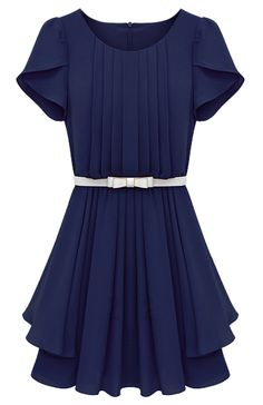 Blue Ruffles Short Sleeve Pleated Chiffon Dress US$36.45