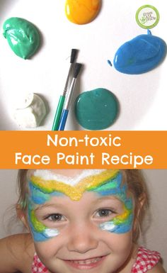 An easy, non-toxic face paint recipe using supplies you likely already have at home! http://www.greenkidcrafts.com/non-toxic-face-paint-recipe/
