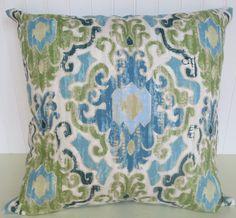 Duralee Ikat Pillow Cover--20 x 20-Contemporary Accent Pillow-- Aqua, Green,  Blue, Cream. $48.00, via Etsy.