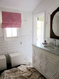 great details on the cabinet doors, white, bathroom