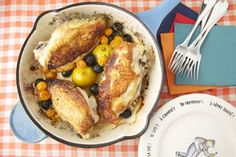 Roast Chicken with Caramelized Lemons, Cherry Tomatoes and Olives on Weelicious