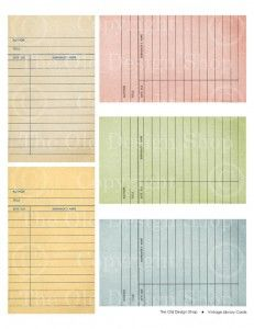 Vintage Library cards and other free vintage printables
