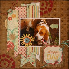 """Adorable """"Be Happy"""" Scrapping Page...great way to use all those scraps of paper.  By Bexta76 - Scrapbook.com."""