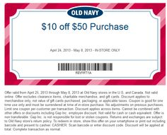 Old Navy Printable Coupons: $10 off $50 (Printable) - Expires 5/8 printabl coupon