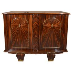 French Art Deco Macassar ebony 2 door commode, circa 1930's