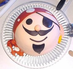 Pirate face cake...cute, but fondant is kind of gross.