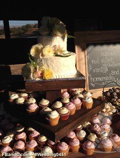 "Design W 0451 | 10""+6"" Textured Butter Cream Cake w/ Cupcakes & Fresh Flowers | Custom Quote"