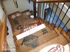 interior, basement stairs, funky junk, old signs, wooden crates, old crates, wood crates, painted stairs, parade of homes