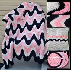 Crochet Pattern 102B PDFfor 3 Color Exaggerated Ripple Afghan, Pillow & Coasters
