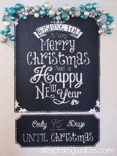 Loving the way our Christmas Countdown chalkboard was decorated by this blogger! ^nk