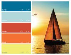 sunset color scheme, sunset color palette, ocean color scheme, ocean color palette, orange and blue color palette