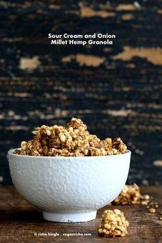 Sour Cream & Onion Hemp Millet Granola and Hemp Giveaway. Gluten-free Vegan Recipe | Vegan Richa