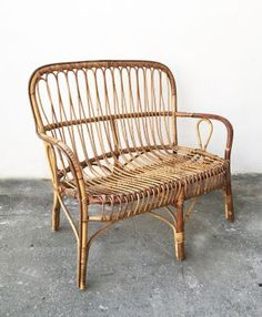 Bamboo & Rattan 2-Seater Bench, 1950s 2