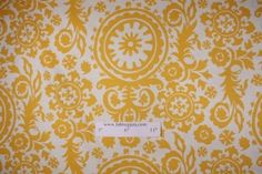 Premier Prints Suzani Slub Printed Cotton Drapery Fabric in Corn Yellow $8.48 per yard