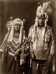 Tearing Lodge and Wife ~ Piegan indians.