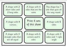 A printable pdf file for 4 players. Game has 4 levels so could be used with a wide selection of pupils by just choosing the bits you want: shape-shape, shape-photo object, shape-name and shape to description. Clear picture, Sassoon Infant font throughout.