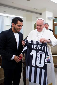 Carlos Tevez with Pope Francis.