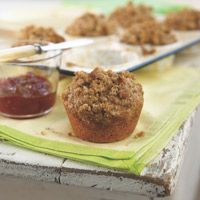 These Peanut Butter And Banana Streusel Muffins are full of fiber and protein from the peanut butter, and they're also an excellent source of monounsaturated fats!