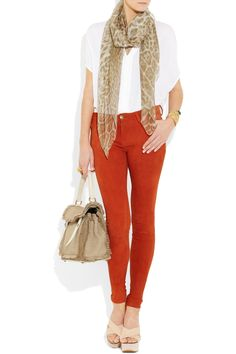Look : #YSL , silk-chiffon scarf, leopard print, coral, nudes | net-a-porter