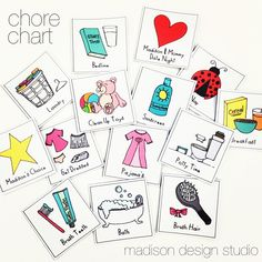 Toddler Chore Chart, Hand Drawn Magnets, Family Madison Design Studio