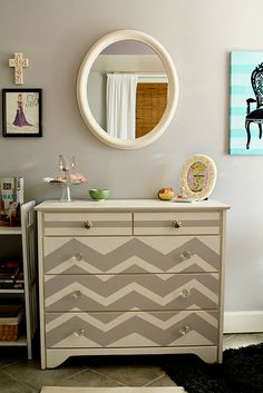 Cheveron Dresser, Amazing!!! This would look awesome as a changing table in baby's room too... just add change pad on top!