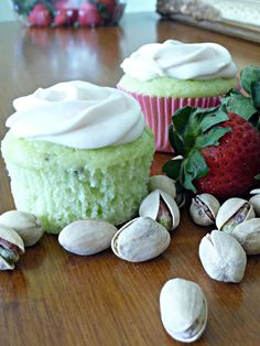 Pistachio Cupcakes with Strawberry Cream Cheese Frosting