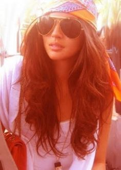 summer hair - long brunette waves with head scarf