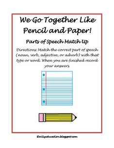 FREE!! Parts of Speech Match Up. Adverbs, adjectives, nouns, verbs
