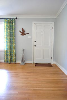 I like this wall color. Moonshine by Benjamin Moore color matched to Olympic No-VOC paint in satin.