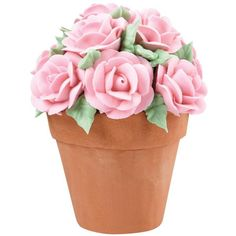 Spectacular royal icing roses decorate these mini cakes. Set one at each place setting at a bridal shower or at Mother's Day. These cakes are fun to make using the Wilton Flower Pot Mini Cake Pan.
