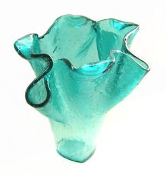 Aqua Turquoise Blue Art Glass Sculptural Vase by UneekGlassFusions, $283.00