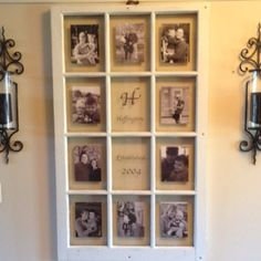 family pictures, old window frames, old window panes, family photos, photo displays, old windows, picture frames, photo collages, old barns