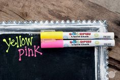 Write On - Liquid Neon Chalk Marker 2pk  Chalkboard markers!! Use'em to write on windows or mirrors or chalkboards. And voila. That's a lot of awesome. No more messy chalk dust, liquid chalk markers are water based and wipe to erase. Premium chalk ink is ideal for any chalkboard surface, glass, windows, whiteboards, mirrors, kids crafts, promotional activities and so much more! #chalkmarkers pickyourplum.com