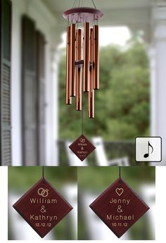 What a great Wedding Gift Idea! You can customize a Personalized Wedding Wind Chime! The wind chime's wood wind catcher is custom engraved with any two names and optional wedding date in your choice of two designs (heart or rings) for only $44.95! You can even hear how the wind chime sounds on PMall's site before you buy it! #Wedding #WeddingGift #WindChime